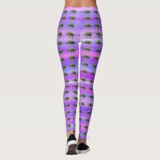 Purple Stripes with Olive-Green Elephants Pattern Leggings