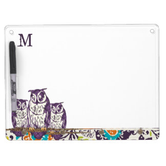 Purple Stylized Geometric Owl Family Dry Erase Board With Keychain Holder