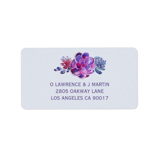 Purple Succulent Floral Watercolor Label