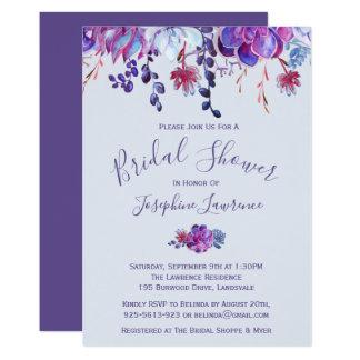 Purple Succulents Bridal Shower Invitation