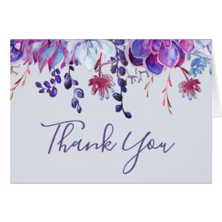 Purple Succulents Thank You Card