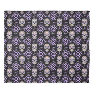Purple Sugar Skull Duvet Cover