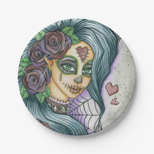 Purple Sugar Skull Fairy Face 7 Inch Paper Plate