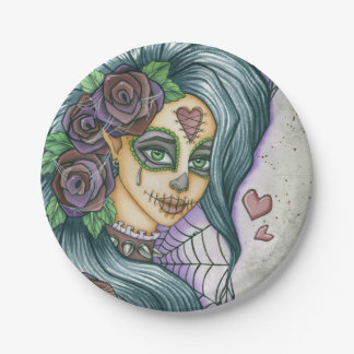 Purple Sugar Skull Fairy Face Paper Plate