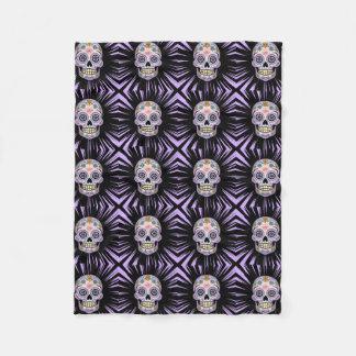 Purple Sugar Skull Fleece Blanket