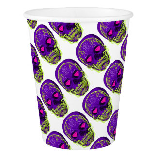 Purple Sugar Skull Paper Cup