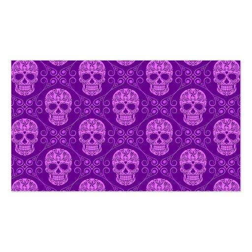 Purple Sugar Skull Pattern Business Card Templates