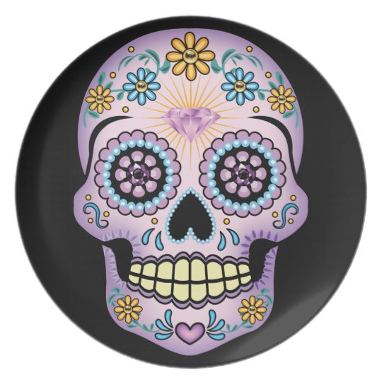 Purple Sugar Skull Plate