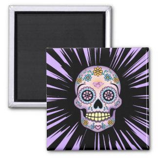 Purple Sugar Skull Square Magnet