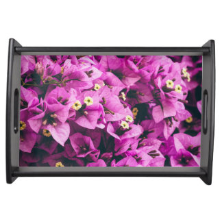 Purple summer flowers serving tray