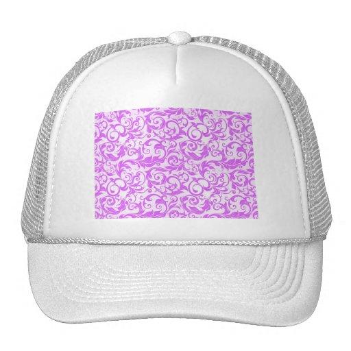 PURPLE SUMMER SEAMLESS FLORAL BACKGROUND PATTERN T TRUCKER HAT