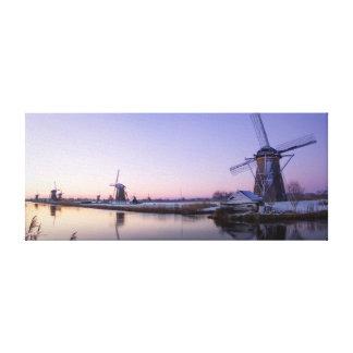 Purple sunrise over the windmills canvas print