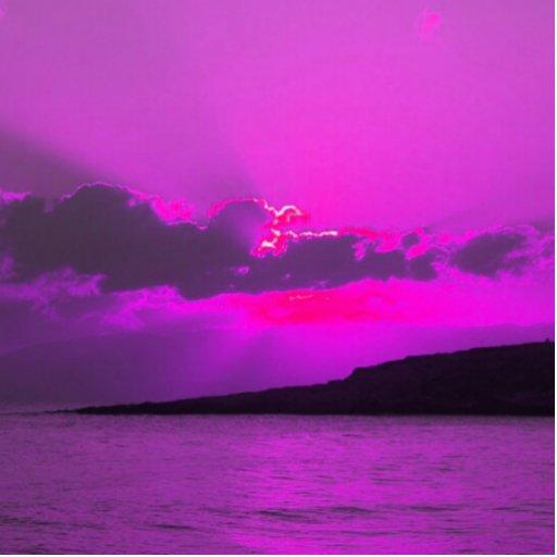 Purple Sunset Photo Cut Out