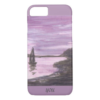 Purple sunset Yacht and reflections Add momogram iPhone 7 Case