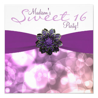 Purple Sweet 16 Birthday Party Personalized Invites