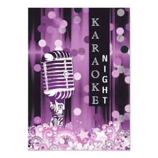Purple Sweet 16 karaoke night party Invitation
