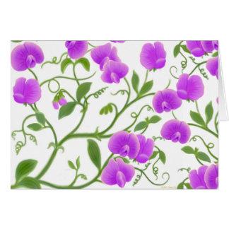 Purple Sweet Pea Flowers Card