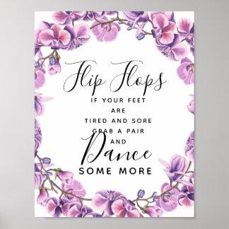 purple sweet pea wedding flip flops wedding sign