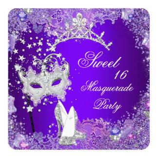 "Purple Sweet Sixteen 16 Masquerade Party Tiara 5.25"" Square Invitation Card"