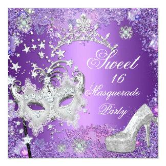 Purple Sweet  Sixteen 16 Masquerade Tiara Shoe 5.25x5.25 Square Paper Invitation Card