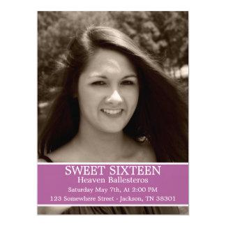 "Purple Sweet Sixteen Birthday Invites 6.5"" x 8.7"