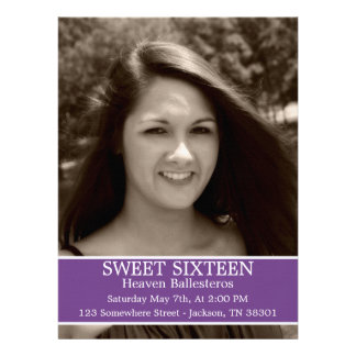 Purple Sweet Sixteen Birthday Invites 6 5 x 8 7