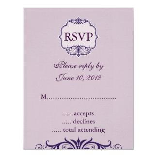 "Purple Swirl and Names Wedding RSVP Cards 4.25"" X 5.5"" Invitation Card"