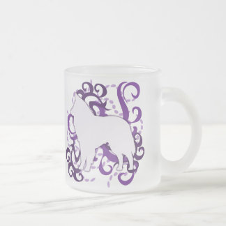 Purple Swirl Belgian Sheepdog Frosted Glass Coffee Mug