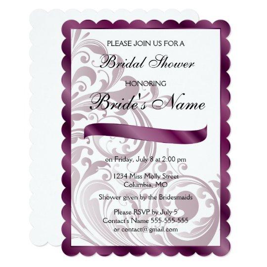 Purple Swirl Bridal Shower Invitation