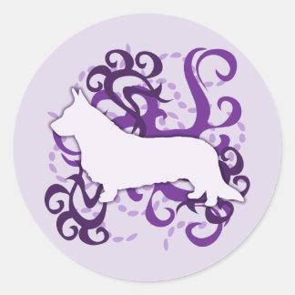 Purple Swirl Cardigan Welsh Corgi Round Sticker