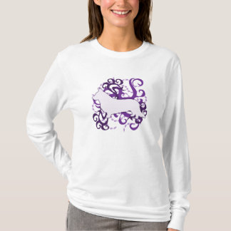 Purple Swirl Cardigan Welsh Corgi T-Shirt