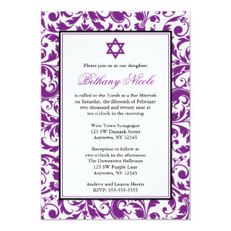 Purple Swirl Damask Bat Mitzvah Invitations