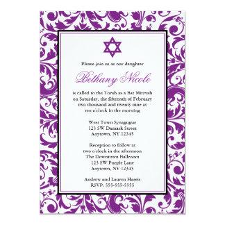 Purple Swirl Damask Bat Mitzvah Invitations