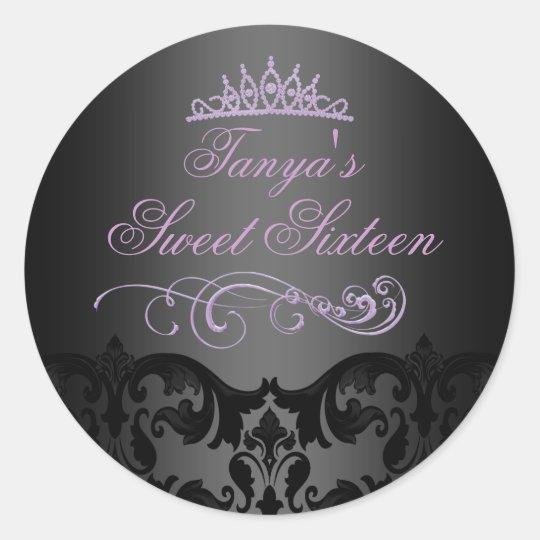 Purple Swirl Damask Sweet 16 Envelope Sticker/seal Classic Round Sticker
