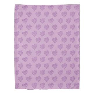 Purple swirl hearts pattern Duvet cover