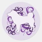 Purple Swirl Shiba Inu Classic Round Sticker