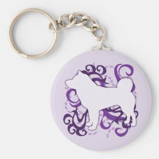 Purple Swirl Shiba Inu Keychain
