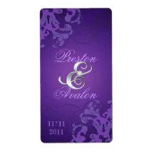 Purple Swirl Silver Jewelled Wedding Wine Label