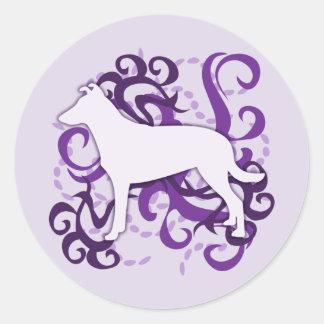 Purple Swirl Smooth Collie Classic Round Sticker