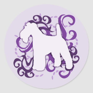 Purple Swirl Wire Fox Terrier Classic Round Sticker