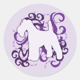 Purple Swirl Wire Fox Terrier Round Sticker
