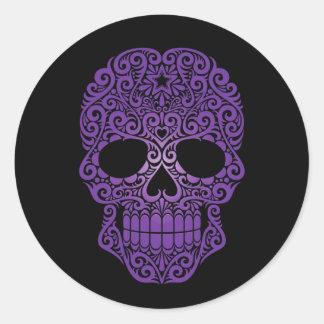Purple Swirling Sugar Skull on Black Round Sticker