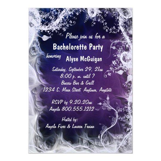 Purple Swirls Bachelorette Party Invitation