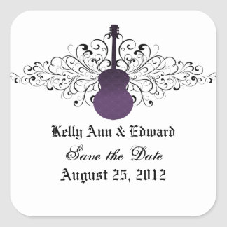 Purple Swirls Guitar Save the Date Stickers