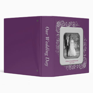 Purple Swirls Photo Frame Wedding Album Binders