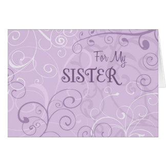 Purple Swirls Sister Maid of Honor Invitation Card