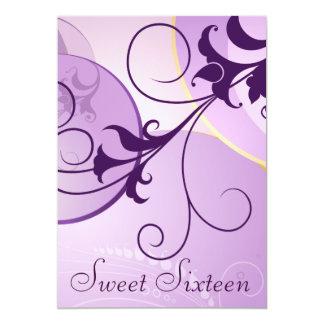 """Purple Swirls Sweet Sixteen Party Invitations 5"""" X 7"""" Invitation Card"""