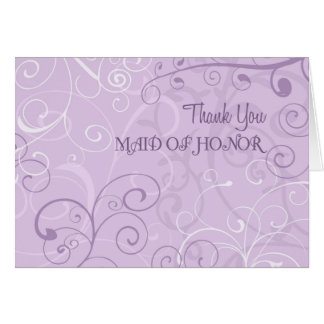 Purple Swirls Thank You Maid of Honor Card