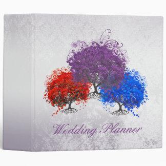 Purple Swirly Romantic Heart Leaf Tree Wedding Vinyl Binder