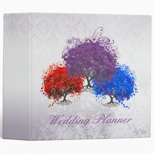 Purple Swirly Romantic Heart Leaf Tree Wedding Vinyl Binder